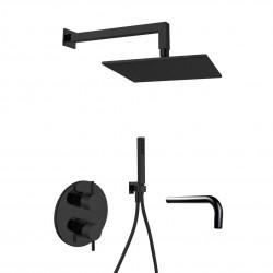 Gaboli Luigi KHUGA zestaw wannowo-natrysk: bateria podtynkowa + deszczownica kwadrat. + zestaw natrysk. + wylewka KK8 czarny