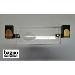 Bagno & Associati CLASS półka łazienkowa szklana wisząca CL13365 GRAFIT/ZŁOTO