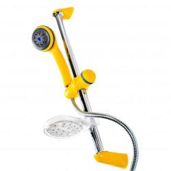 Frisone drążek/zestaw prysznicowy regulowany z wężem i słuchawką prysznicową chrom/żółty