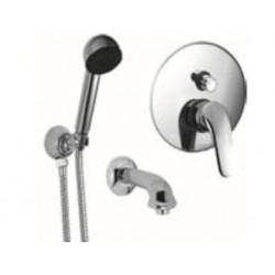 Eurorama SESIA zestaw prysznicowo/wannowy: bateria podtynkowa+ wylewka + zestaw natryskowy PE7045