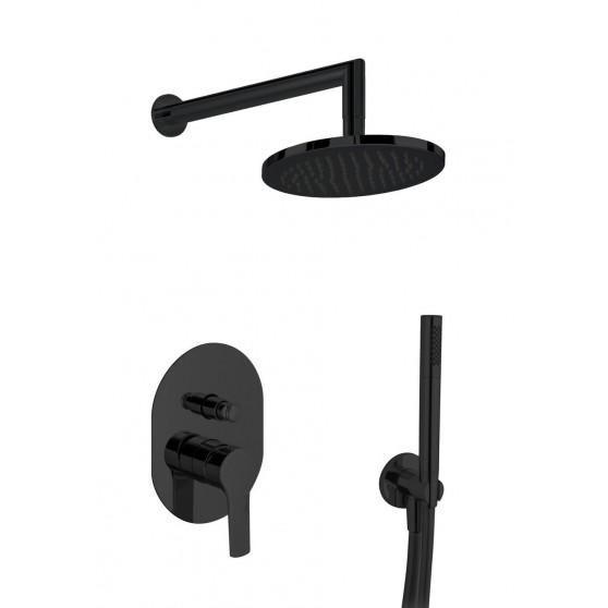 Gaboli Luigi KHUGA zestaw prysznicowo - wannowy: bateria podtynkowa + deszczownica + zestaw natryskowy punktowy, czarny KC5