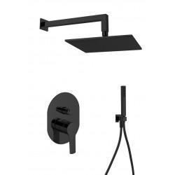 Gaboli Luigi KHUGA zestaw prysznicowo/wannowy: bateria podtynkowa + deszczownica kwadratowa + komplet natryskowy, czarny  KC7