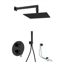 Gaboli Luigi KHUGA zestaw wannowo-natrysk: bateria podtynkowa + deszczownica kwadrat. + zestaw natrysk. czarny+ przelew KK6