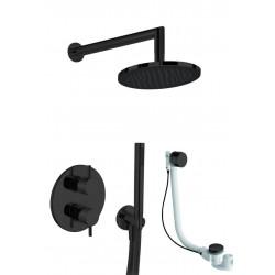 KHUGA zestaw prysznicowo - wannowy: bateria podtynkowa 1075-3V + deszczownica 300mm+ zestaw natryskowy punktowy, czarny KK5