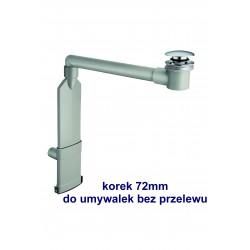 SILFRA Spaceless syfon umywalkowy oszczędzający miejsce z korkiem click-clack do umywalek bez przelewu, chrom UD 154
