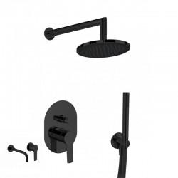 Gaboli Luigi KHUGA zestaw natryskowy podtynkowy z deszczownicą + bateria umywalkowa. czarny KC4