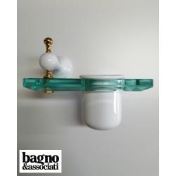 Bagno & Associati Regency kubek wiszący biły/ złoto RE15340