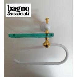 Bagno & Associati Regency uchwyt na papier z mydelniczką, wiszący, biały/złoto RE23840