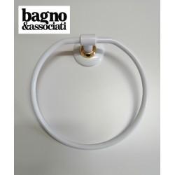 Bagno & Associati STUDIO wieszak na ręcznik okrągły biały/złoto ST21740