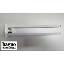 Bagno & Associati STUDIO wieszak na ręcznik podwójny biały/zloto ST21440