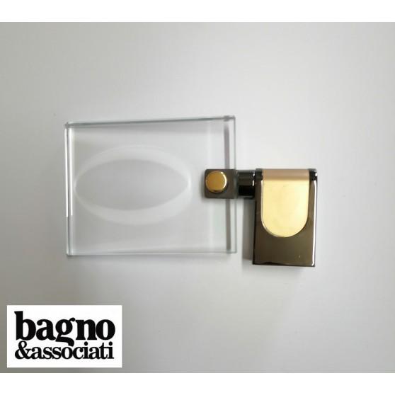 Bagno & Associati Regency mydelniczka szklana, uchwyt stal szczotkowana RE12390