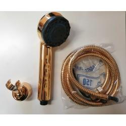Cristina Rubinetterie zestaw prysznicowy złoty: słuchawka + wąż złoty + uchwyt ścienny