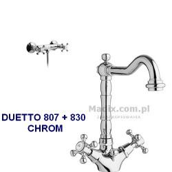 Zestaw łazienkowy GABOLI LUIGI DUETTO bateria umywalkowa stojąca + bateria prysznicowa RETRO, chrom ZD1